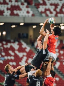 Rugby lineout in progress - competition is another reason to develop new products in NZ